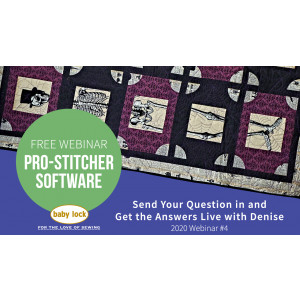 Pro-Stitcher Webinar: Send Your Questions in and Get the Answers Live with Denise - April 2020
